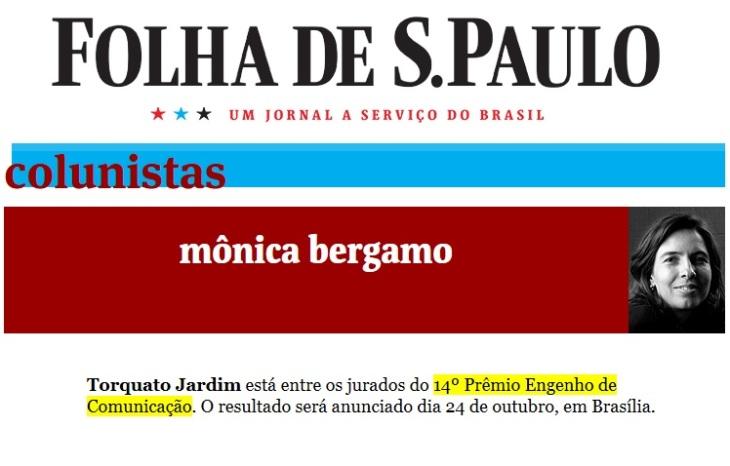 30.08.2017 - COLUNA MONICA BERGAMO FOLHA DE S. PAULO