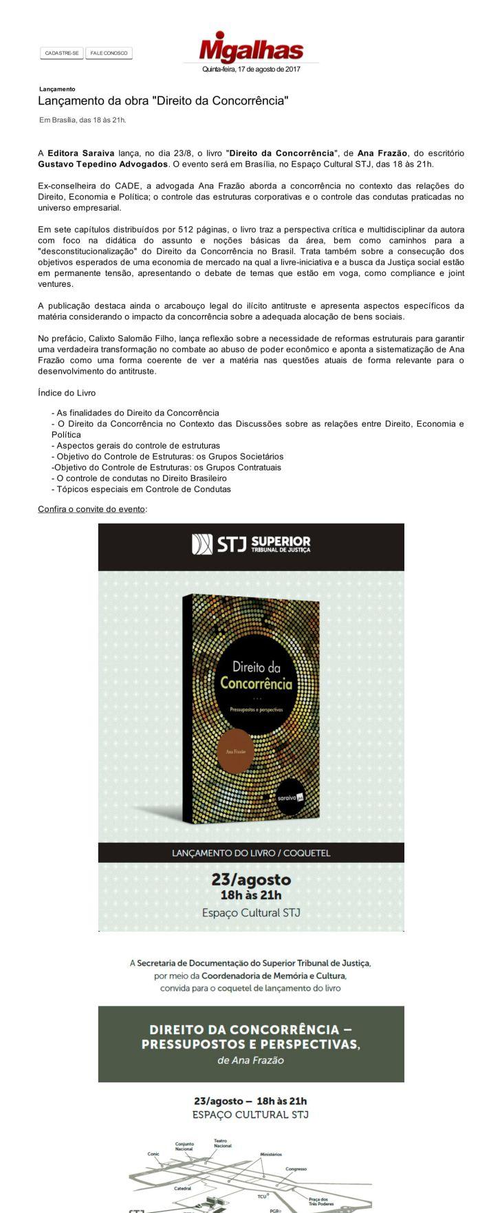 Lan+ºamento da obra _Direito da Concorr+¬ncia_ - Eventos - Migalhas-1
